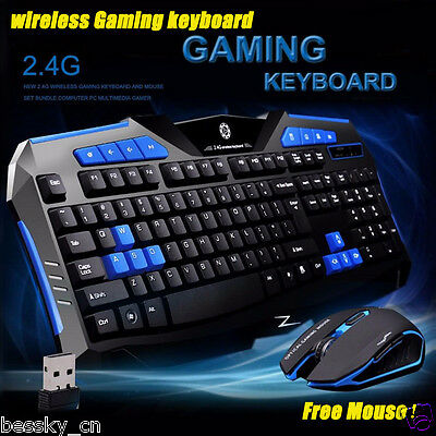 New 2.4G Wireless Gaming keyboard + Mouse Set For PC Computer Multimedia Gamer