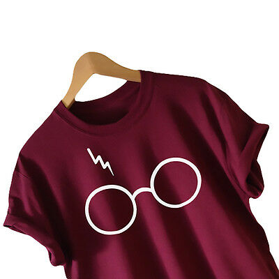 WOMEN HARRY POTTER INSPIRED GLASSES AND LIGHTNING T-SHIRT TOPS Free Shipping
