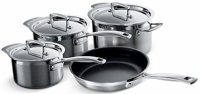 Le Creuset 3-Ply Stainless Steel Saucepan Set - Silver, 4 Piece
