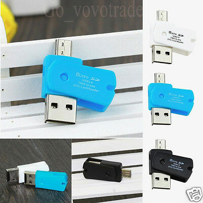 2-in-1 Micro USB 2.0 Port OTG Adapter SD TF Card Reader for Android Phones PC AU