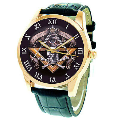 Spectacular Vintage Symbolic Skull Art Masonic Collectible 24K Gold-Washed Watch