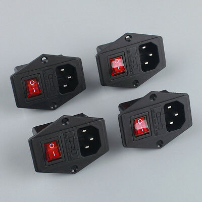 4pcs 3 PinIEC320 C14 Inlet Module Plug Fuse Switch Male Power Socket 10A 250V