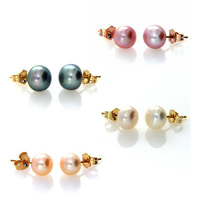 Solid 14ct Yellow Gold 7-8mm Genuine Freshwater Pearl Stud Earrings 14k Posts