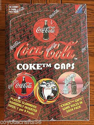 COCA COLA TRADING CARD CAPS POGS UNOPENED BOX of 36 PACKS