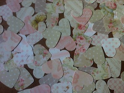 100 Heart shape embellishments for card making scrapbooking crafts Pink Neutrals
