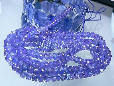 """AAA+++ RARE PURPLE BLUE TANZANITE FACETED RONDELLE BEADS 128ctw 19"""" STRAND 4-7mm"""