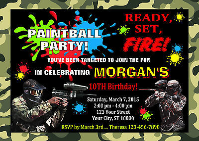 Paintball Custom Birthday Party Invitation & Free Thank You Card