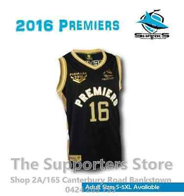 Cronulla Sharks NRL 2016 Premiers Classic Basketball Singlet Sizes S-5XL!
