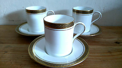 3 Sutherland China Coffee Cans in the Greek Key Pattern