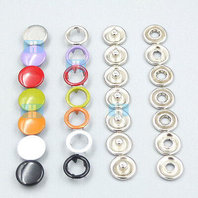 "9.5mm 3/8"" Metal Open Ring No Sew Snap Buttons Fasteners Stud Sewing Projects"