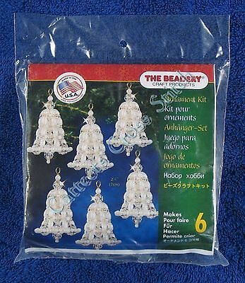 "Christmas Bead Kit Crystal Pearl Bell Ornament Makes 6 2.75"" 7 cm Quick & Easy"