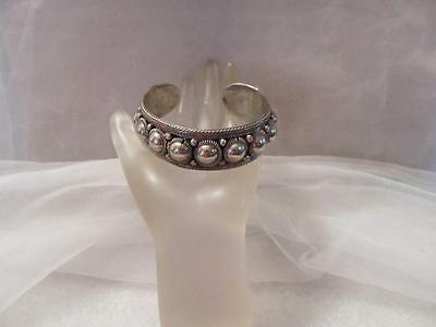 "Vintage Antique Siam Ornate Domed Sterling Silver Cuff Bracelet ""Rare"""