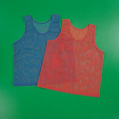 12 Mesh Scrimmage Team Jersey Youth Soccer Sports Practice Pinnies Red Blue