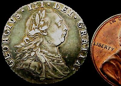 S171: 1787 George III Silver Sixpence - lovely grade