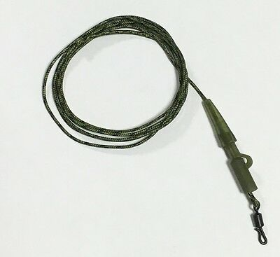 45lb Leadcore Leader 1m x3 Green Camo Translucent Saftey Clip & Tail Rubber QC