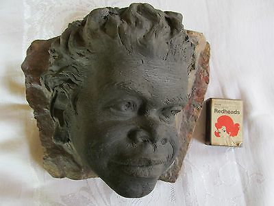 Large William Ricketts Aboriginal Child Sculptured Head mounted on to Marble