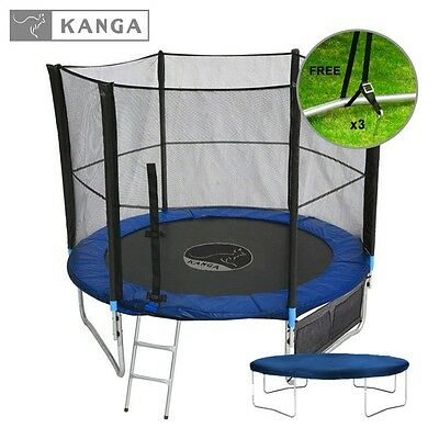 10ft Trampoline with Enclosure Safety Net, Ladder, Cover and Shoe Bag by KANGA