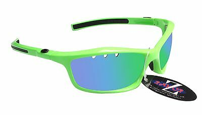 RayZor Uv400 Neon Green Vented Green Mirrored Lens Cricket Sunglasses RRP£49