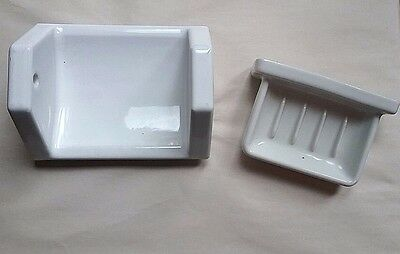 Vintage heavy white porcelain bathroom fixtures toilet paper soap dish 1930s