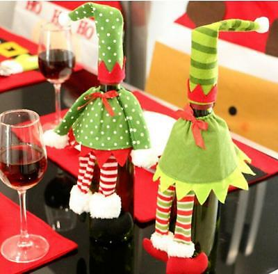 Christmas Wine Bottle Bag Cover Pouch Decoration Hat Skirt Party Dinner Table