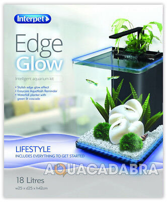 Interpet Edge Glow 18L Aquarium Auto Led Lighting Waterfall Planter Fish Tank