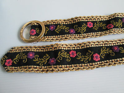 Ladies Vintage Cloth Embroidery Belt Floral With Border