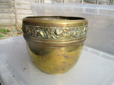 Vintage Brass Planter Plant Pot Tub Trough Flower Rose Floral Made in England