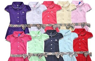 New Baby Toddler Girls Polo ShortSleeves Dresses Size 4,5,6,7,8yrs