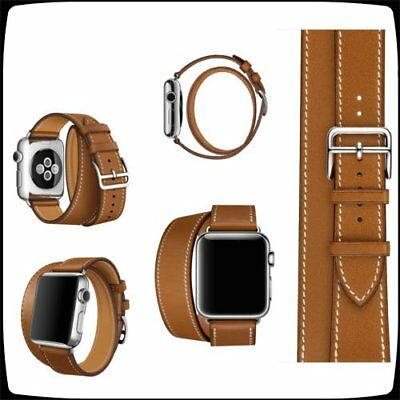 4 in 1 Leather Cuff Bracelet Long Watch Band Strap Brown iWatch 42mm Apple