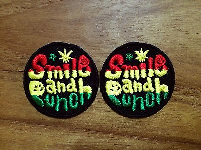 New Set 2pcs. Smile and Punch Ska Color Iron On Patch Embroidered Applique