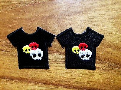 Set 2pcs. Little Black T Shirt Tiny Skull  Iron On Patch Embroidered Applique