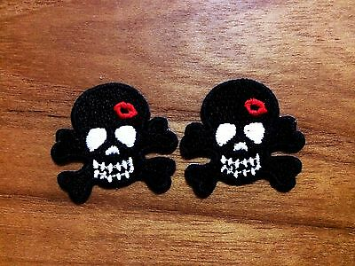 Set 2 pcs. Black Skull Crossbone with Red lips Valentine Ghost Iron On Patch