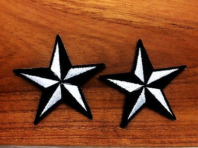 New Set 2pcs. Little Star Black Color Iron On Patch Embroidered Applique