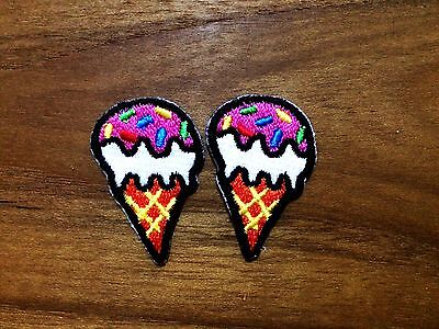 Set 2pcs. Pink Ice Cream Cone with Sugar Topping, Sweet New Sew / Iron On Patch