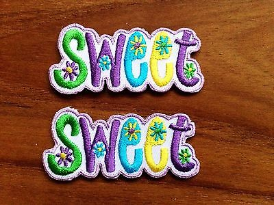 New Set 2 pcs. Sweet Flowers Patch Iron On Patch Embroidered Applique