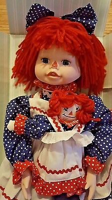 Vintage Kingstate Porcelain Raggedy Ann Doll & Doll The Dollcrafter Collection
