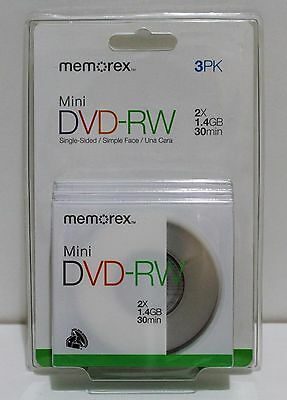 MEMOREX Mini DVD-RW 2X 1.4GB 30min For DVD Player Camcorder Handycam - PACK OF 3