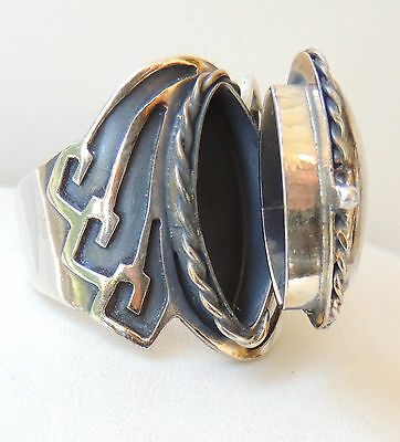 Mexican Sterling Silver Locket Poison Ring Adjustable Signed