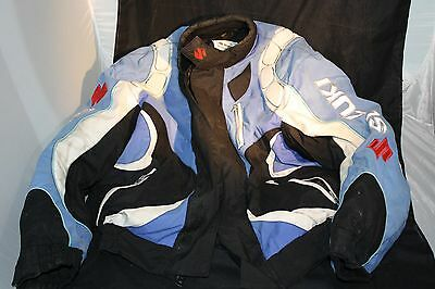 Suzuki Black, White, Blue Leather Jacket Motorcycle Size XL
