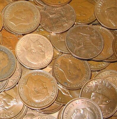 50 Farthings Bulk Lot Of Old English Coins 1900-1956