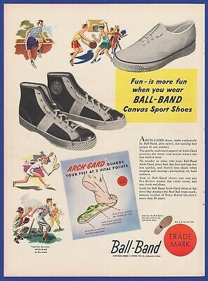 Original Vintage 1948 BALL-BAND Canvas Sport Shoes Old RARE Print Ad 1940's