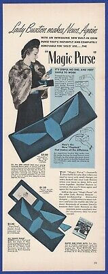 Vintage 1941 LADY BUXTON MAGIC PURSE Women's Fashion 1940's Art Deco Print Ad