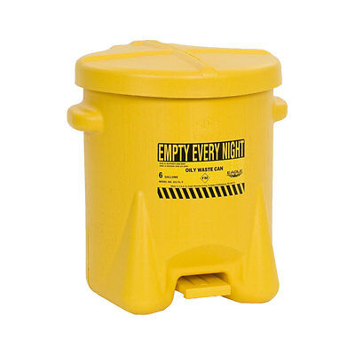 Oily Waste Can, 6 gallon, Polyethylene, Yellow, Eagle 933-FLY