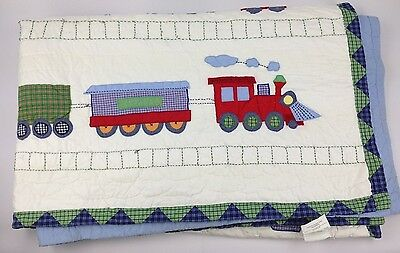 """Pottery Bard Kids 68"""" x 86"""" Quilted Comforter Blanket Train w/ Dogs Colorful"""
