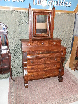 1860's Empire Flame Mahogany 7 Drawer Chest W/mirror