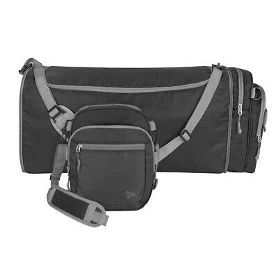 Travelon Convertible 2-in-1 Crossbody Travel Duffel Gym Bag Black