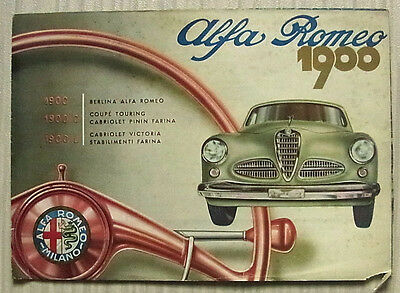 ALFA ROMEO 1900 1900C 1900L Car Sales Brochure 1956