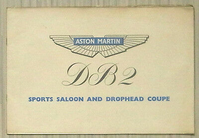 ASTON MARTIN DB2 SPORTS SALOON & DROPHEAD COUPE Car Sales Brochure 1951-52