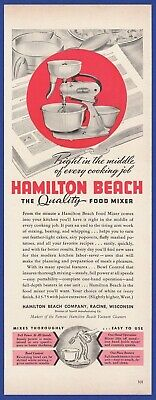 Vintage 1941 HAMILTON BEACH Food Mixer Kitchen 1940's Decor Art Deco Print Ad