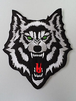 Embroidered Biker Motorcycle Back Jacket Wolf Patch